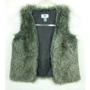 Old Navy Fur Vest Gray Silver Sleeveless Winter